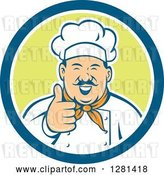 Vector Clip Art of Retro Happy Male Chef with a Mustache, Holding a Thumb up in a Blue White and Green Circle by Patrimonio