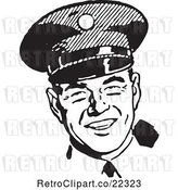 Vector Clip Art of Retro Happy Police Officer by BestVector