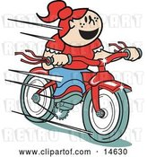 Vector Clip Art of Retro Happy Red Haired Girl Speeding Downhill on Her Brand New Red Bike by Andy Nortnik