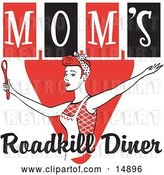 Vector Clip Art of Retro Happy Red Haired Lady in an Apron, Her Hair up in a Scarf, Singing and Dancing with a Spoon on a Red and Black Sign for Mom's Roadkill Diner by Andy Nortnik