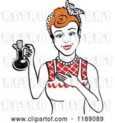 Vector Clip Art of Retro Happy Redhead Lady in an Apron, Holding up a Bottle of Cooking Oil 2 by Andy Nortnik