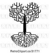 Vector Clip Art of Retro Heart Tree with Bare Branches and Deep Roots by AtStockIllustration