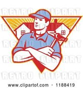 Vector Clip Art of Retro Home Builder with Folded Arms and a Hammer over a Triangle of Houses and Rays by Patrimonio
