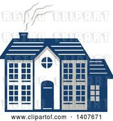 Vector Clip Art of Retro Home Facade with Smoke Rising from the Chimney by Patrimonio