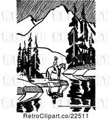 Vector Clip Art of Retro Horseback Guy by a Still Mountainous Stream by BestVector