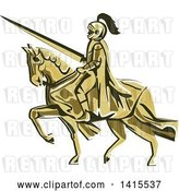 Vector Clip Art of Retro Horseback Knight in Full Armor, Holding a Lance by Patrimonio