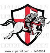 Vector Clip Art of Retro Horseback Knight Leaping over an English Flag Shield with a Golf Club in Hand by Patrimonio