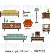 Vector Clip Art of Retro Household Furniture 2 by Vector Tradition SM