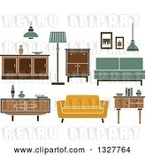 Vector Clip Art of Retro Household Furniture by Vector Tradition SM