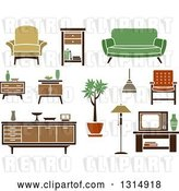 Vector Clip Art of Retro Household Tables, Chairs, Couches and Furniture by Vector Tradition SM
