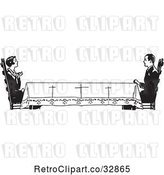 Vector Clip Art of Retro Housewife Across a Long Table from Her Husband by Picsburg