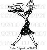 Vector Clip Art of Retro Housewife Carrying a Roasted Turkey by Prawny Vintage