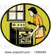 Vector Clip Art of Retro Housewife Cooking Fresh Bread in an Oven by Patrimonio