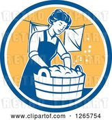 Vector Clip Art of Retro Housewife Lady Doing Laundry in a Blue White and Yellow Circle by Patrimonio