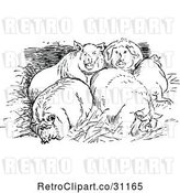 Vector Clip Art of Retro Huddled Pigs by Prawny Vintage