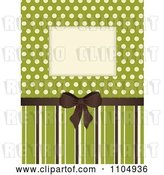 Vector Clip Art of Retro Invitation Background with a Brown Bow and Frame over Polkda Dots on Green with Stripes by Elaineitalia