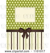 Vector Clip Art of Retro Invitation Background with a Brown Bow and Ribbon over Polkda Dots on Green with Stripes by Elaineitalia