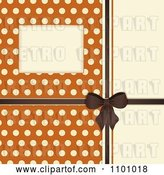 Vector Clip Art of Retro Invitation Background with a Brown Bow and Ribbon over Polkda Dots on Orange by Elaineitalia
