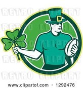 Vector Clip Art of Retro Irish Rugby Player with a Ball and Shamrock in a Green and White Circle by Patrimonio