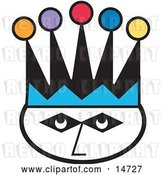 Vector Clip Art of Retro Joker's Face Wearing a Colorful Jester Hat by Andy Nortnik