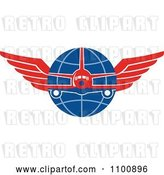 Vector Clip Art of Retro Jumbo Jet Airplane over a Grid Globe with Red Wings by Patrimonio