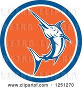 Vector Clip Art of Retro Jumping Swordfish in a Blue White and Orange Circle by Patrimonio