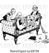 Vector Clip Art of Retro KChildren Playing on a Sofa by Prawny Vintage