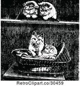 Vector Clip Art of Retro Kittens and a Basket by Prawny Vintage
