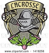 Vector Clip Art of Retro Knight Helmet over Crossed Lacrosse Sticks and a Woodcut Banner Shield with Leaves and a Ball by Patrimonio