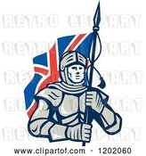 Vector Clip Art of Retro Knight in Metal Armour, Carrying a British Flag by Patrimonio