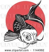 Vector Clip Art of Retro Koi Fish over a Red Circle by Patrimonio