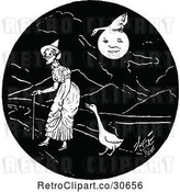 Vector Clip Art of Retro Lady and Geese by Prawny Vintage