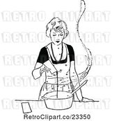 Vector Clip Art of Retro Lady Cooking by Prawny Vintage