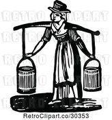 Vector Clip Art of Retro Lady Fetching Water by Prawny Vintage