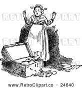 Vector Clip Art of Retro Lady Finding an Exciting Box of Goodies by Prawny Vintage