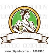 Vector Clip Art of Retro Lady Holding a Bunch of Green Grapes in a Brown Yellow White and Green Circle over a Blank Ribbon Banner by Patrimonio