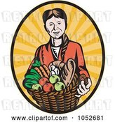 Vector Clip Art of Retro Lady Holding a Harvest Basket over Rays by Patrimonio