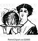 Vector Clip Art of Retro Lady Holding Christmas Plum Pudding by Prawny Vintage