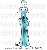 Vector Clip Art of Retro Lady in a Gorgeous Blue Gown by Vector Tradition SM