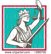Vector Clip Art of Retro Lady Justice Wearing a Crown, Holding a Sword and Scales in a Square by Patrimonio