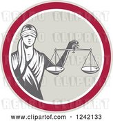 Vector Clip Art of Retro Lady Justice with Scales in a Circle by Patrimonio