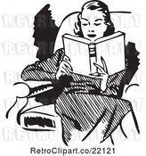 Vector Clip Art of Retro Lady Reading in a Chair by BestVector