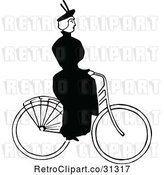 Vector Clip Art of Retro Lady Riding a Bicycle 2 by Prawny Vintage