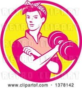 Vector Clip Art of Retro Lady, Rosie the Riveter, Rolling up a Sleeve and Working Out, Doing Bicep Curls with a Dumbbell in a Pink White and Yellow Circle by Patrimonio