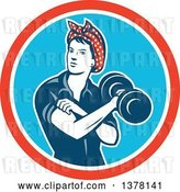 Vector Clip Art of Retro Lady, Rosie the Riveter, Rolling up a Sleeve and Working Out, Doing Bicep Curls with a Dumbbell in a Red White and Blue Circle by Patrimonio