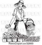 Vector Clip Art of Retro Lady Shopping for Produce by Picsburg