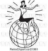 Vector Clip Art of Retro Lady Sitting on Top of a Globe by BestVector