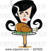 Vector Clip Art of Retro Lady Smelling and Carrying a Roasted Thanksgiving Turkey by Andy Nortnik