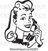 Vector Clip Art of Retro Lady Talking on a Phone - 1 by BestVector