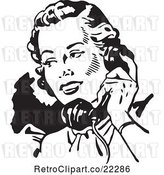 Vector Clip Art of Retro Lady Talking on a Phone - 2 by BestVector